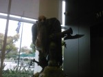 A LIFE SIZE Dwarf hunter with his gun stalks within the Blizzard HQ