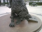 The Thrall as Warchief statue outside of Blizzard HQ in Irvine, CA. Closeup of the Worg mount's face, right side.