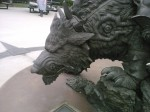 The Thrall as Warchief statue outside of Blizzard HQ in Irvine, CA. Closeup of the Worg mount's face, left side.