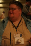 The Friday evening mixer - check out my double badge!