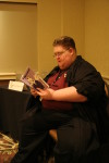 Me at my author reading on Saturday morning.