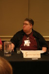 A closeup of me moderating The Trust Issue.