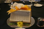 The wonderfully creative centerpieces at the Saturday evening banquet, made out of old dictionaries. :D